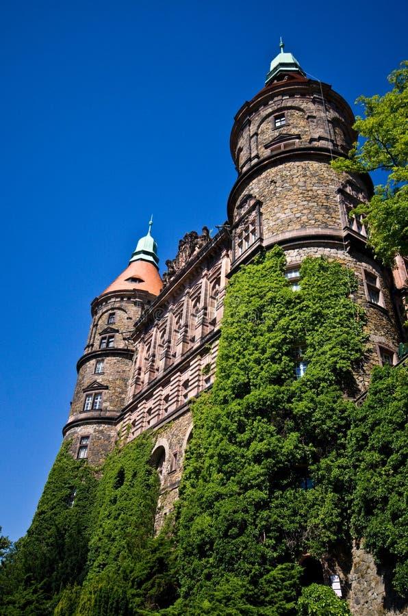 Esterno del castello di Ksiaz fotografie stock libere da diritti