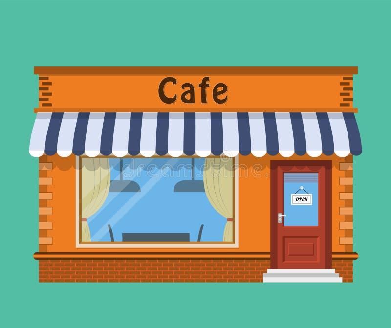 Esterno del negozio del caffè illustrazione vettoriale