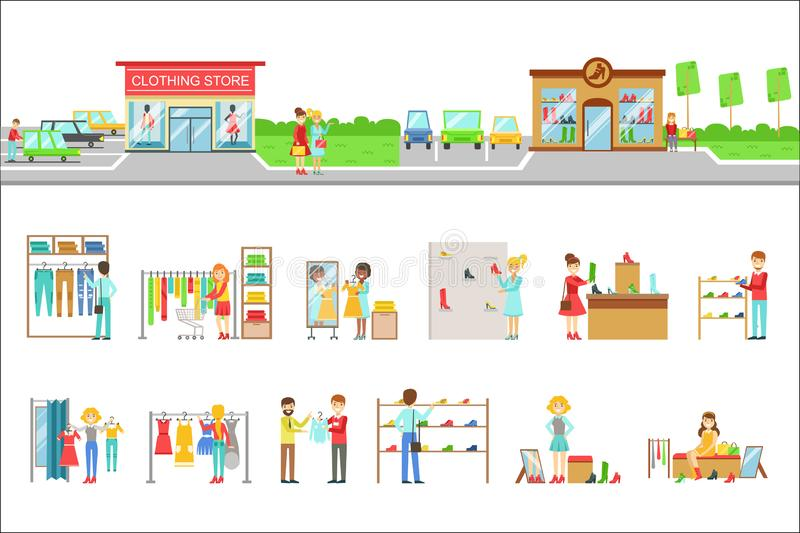 Esterno del negozio di vestiti ed insieme di compera della gente delle illustrazioni illustrazione di stock