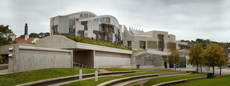 Esterno del Parlamento scozzese fotografia stock
