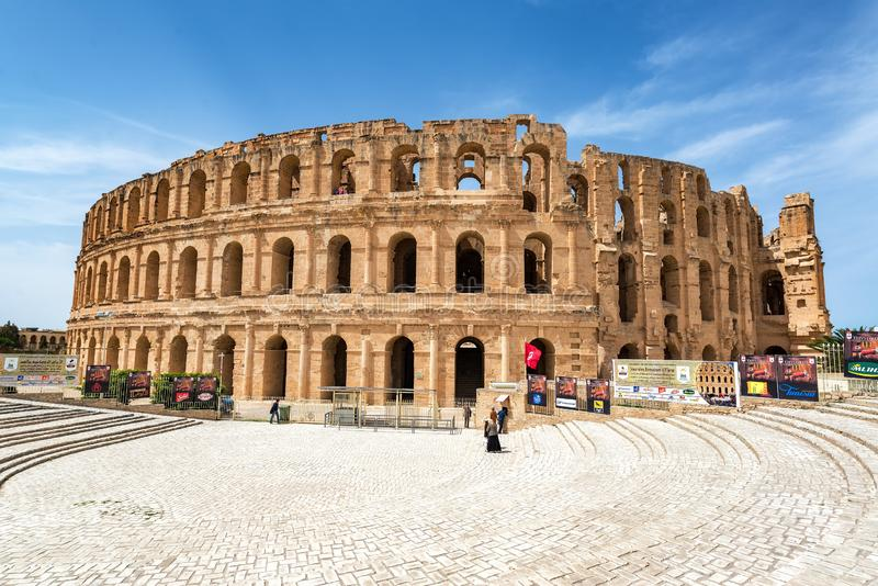 Esterno dell'anfiteatro del EL Jem fotografia stock