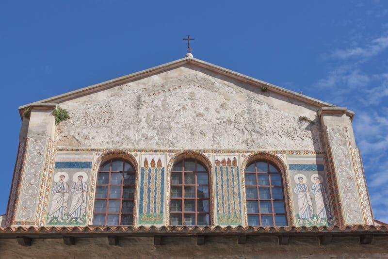 Esterno della basilica di Porec Euphrasian, Croazia fotografia stock