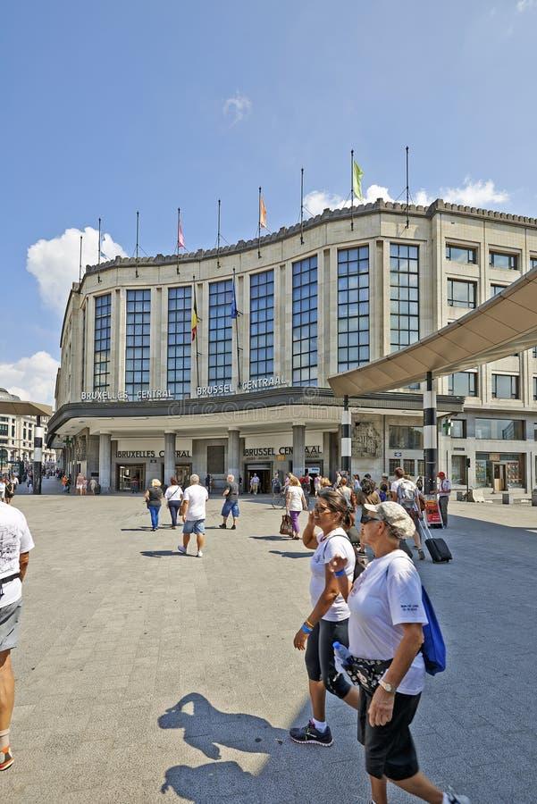 Esterno della stazione ferroviaria principale centrale di Bruxelles fotografia stock