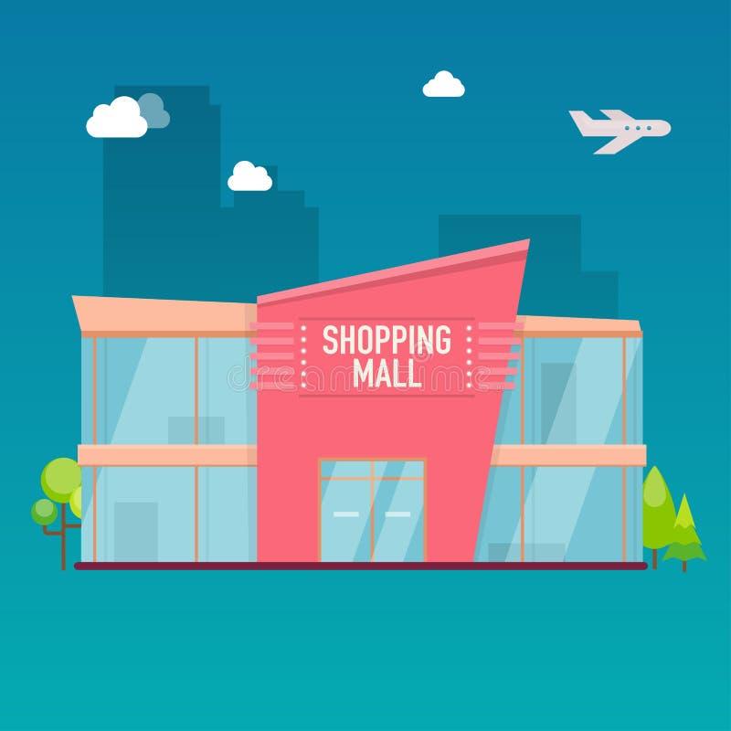 Esterno di costruzione del centro commerciale Vettore moderno di stile piano di progettazione illustrazione vettoriale