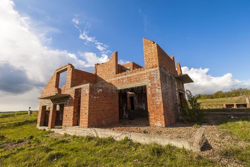 Esterno di vecchia costruzione in costruzione Mattone arancio wal fotografie stock