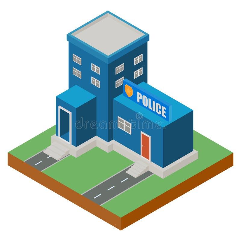 Esterno isometrico delle costruzioni del commissariato di polizia illustrazione di stock