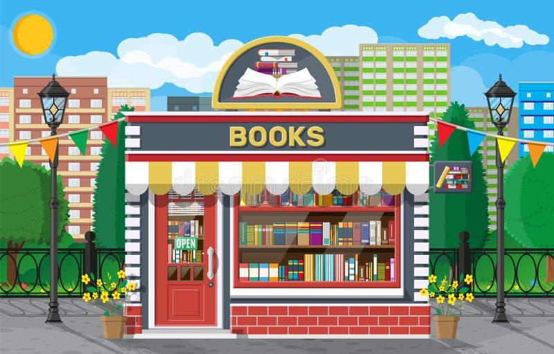 Esterno negozio di libri Costruzione di mattoni in un negozio di libri illustrazione di stock