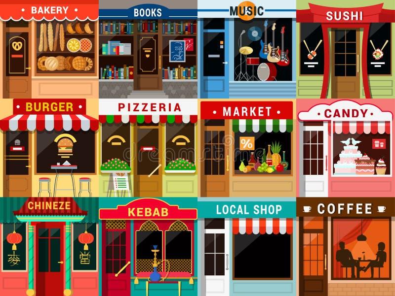 Esterno piano del negozio del caffè del ristorante: pizzeria del forno del caffè di kebab illustrazione vettoriale