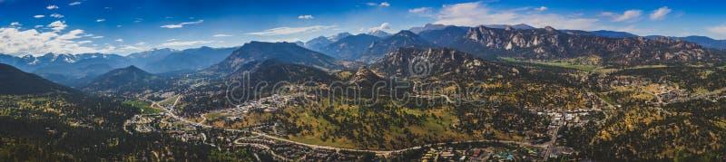 Estes Park Aerial Panorama royaltyfri bild