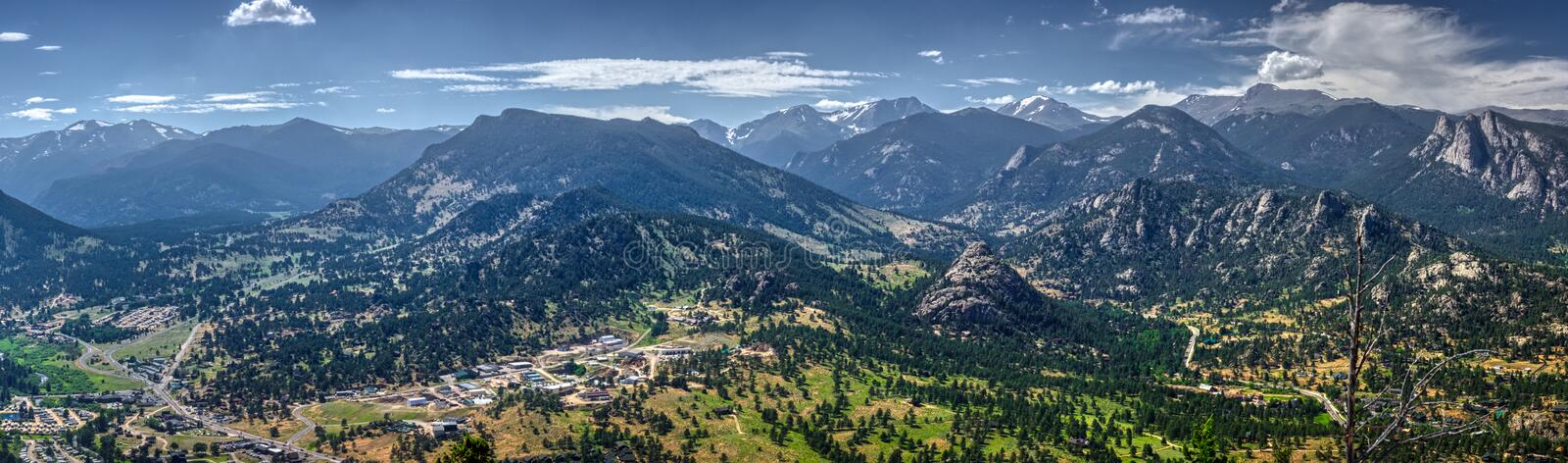 Estes Park Aerial Panorama. Scenic valley and snow-covered peaks under a blue sky with clouds in Estes Park, Colorado near the Rocky Mountain National Park royalty free stock photos