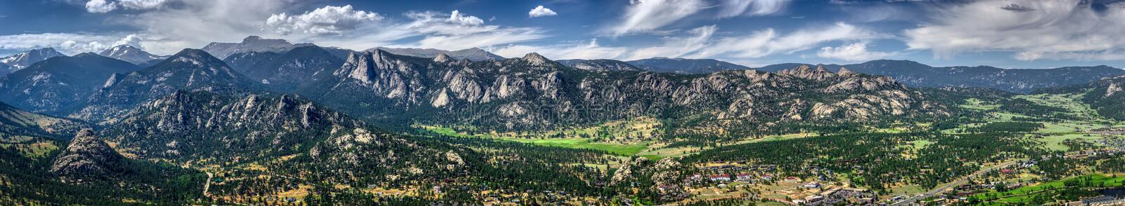 Estes Park Aerial Panorama. Scenic valley and snow-covered peaks under a blue sky with clouds in Estes Park, Colorado near the Rocky Mountain National Park stock photos