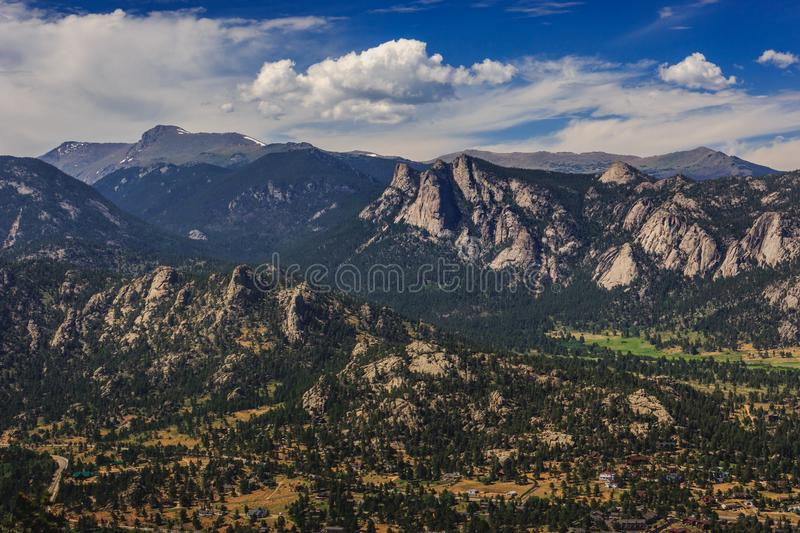 Estes Park Aerial. Scenic valley and snow-covered peaks under a blue sky with clouds in Estes Park, Colorado near the Rocky Mountain National Park. Aerial view stock image
