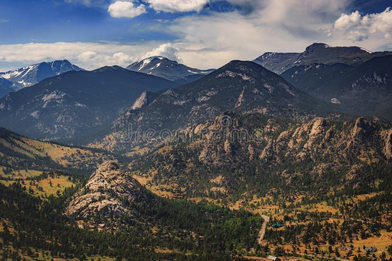 Estes Park Aerial. Scenic valley and snow-covered peaks under a blue sky with clouds in Estes Park, Colorado near the Rocky Mountain National Park. Aerial view stock photos