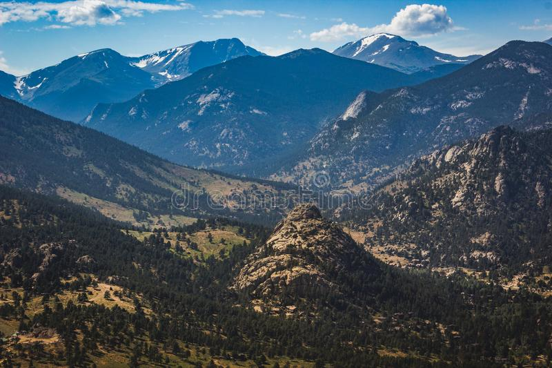 Estes Park Aerial. Scenic valley and snow-covered peaks under a blue sky with clouds in Estes Park, Colorado near the Rocky Mountain National Park. Aerial view royalty free stock photo