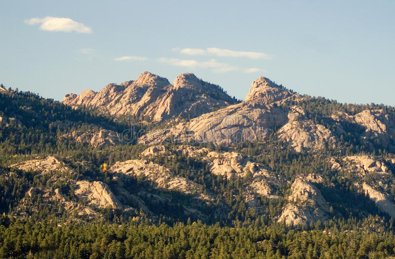 Estes Park Colorado Mountains. The peaks above the city of Estes Park seem to come alive in the light of the late evening royalty free stock photography