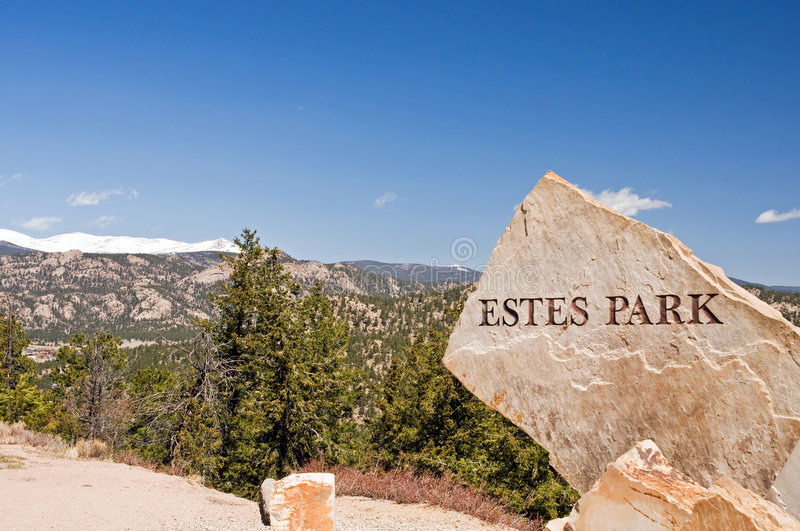 Estes Park Colorado sign stock photos