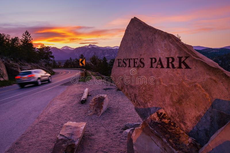 Estes Park. Highway 36 Entrance Sign at Sunset. , Colorado, United States stock images