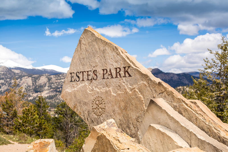 Estes Park sign. Welcoming to this beautiful town stock images