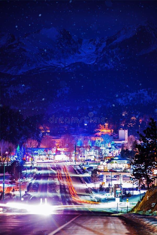 Estes Park Winter Illumination fotos de archivo