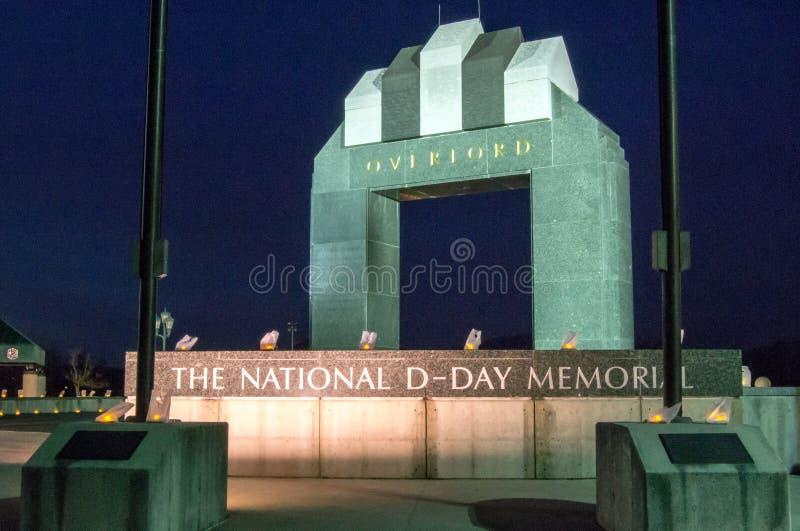 Estes Plaza and the Overlord Arch - National D-Day Memorial. Bedford, VA - DECEMBER 12TH: Estes Plaza and the Overlord Arch at night at the National D-Day royalty free stock photos