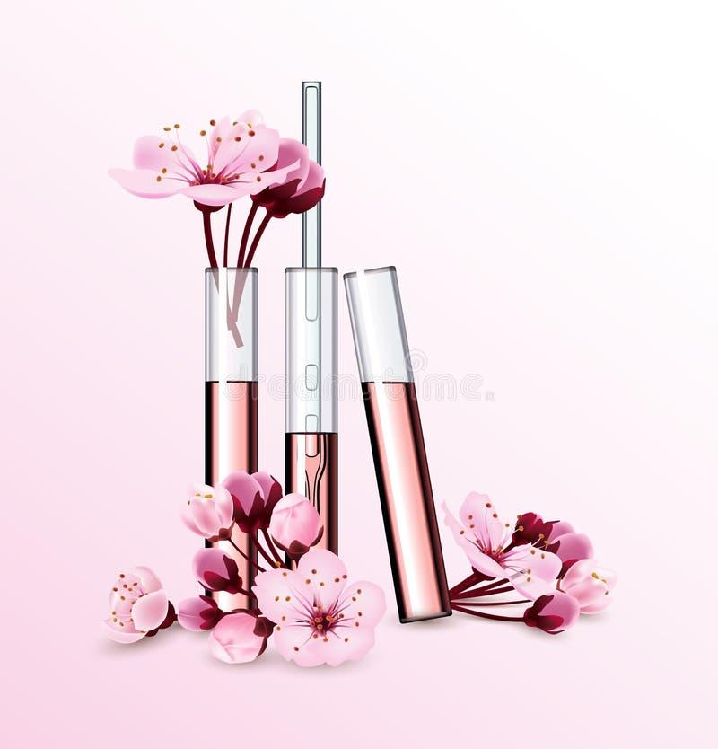 Estetiche naturali Profumo Estratto del fiore in vitro Modello cosmetico degli annunci con la bottiglia di vetro della gocciolina illustrazione vettoriale