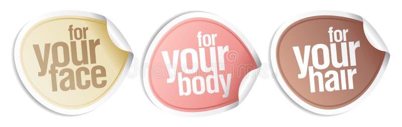 Estetiche per il vostro corpo, capelli, fronte. illustrazione di stock
