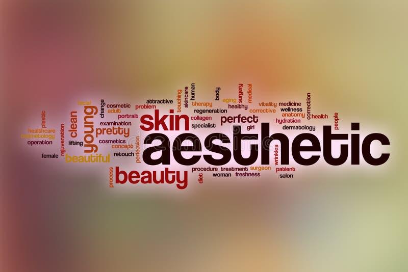 Estetiskt ordmoln med abstrakt bakgrund vektor illustrationer