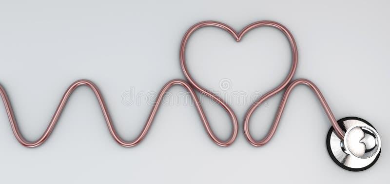 Estetoscópio, auscultação cardíaca do instrumento ilustração do vetor