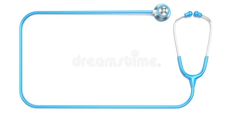 Estetoscópio azul como o quadro, com espaço para o texto ilustração do vetor