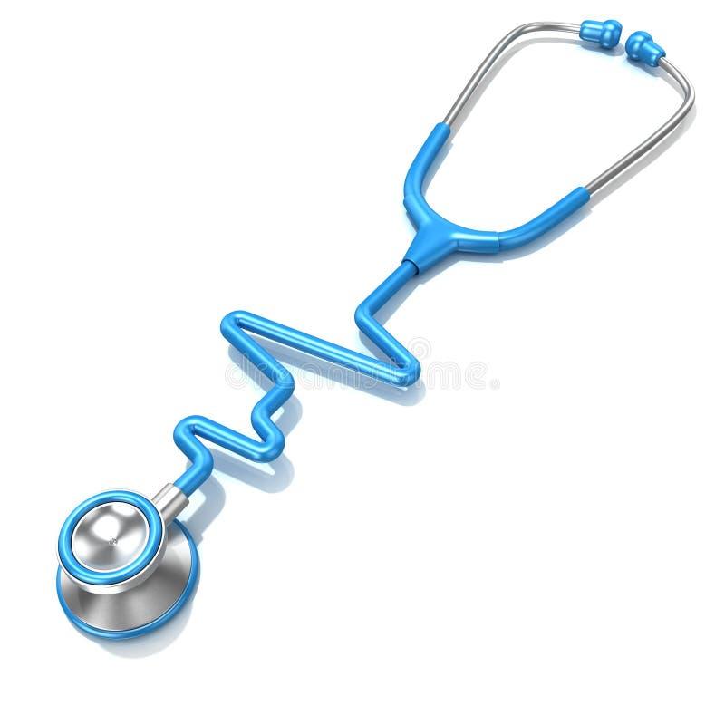 Estetoscópio azul na forma da linha ECG do eletrocardiograma ilustração stock