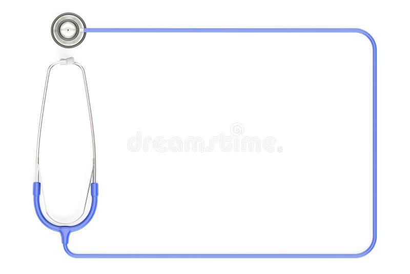 Estetoscópio como o quadro, cor azul rendição 3d ilustração do vetor