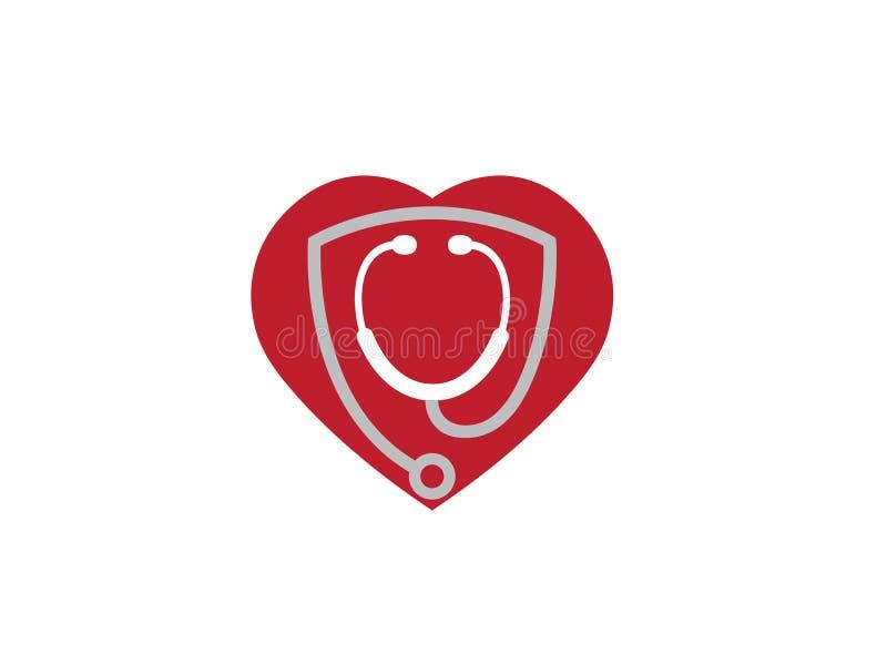Estetoscópio dentro de um coração para o logotipo do exame da taxa ilustração do vetor