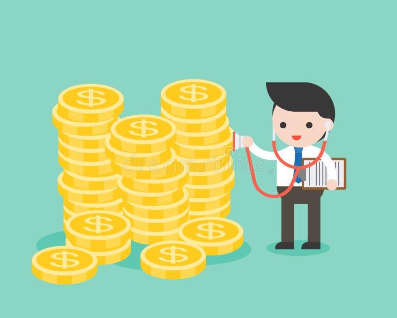 Estetoscópio do uso do homem de negócios que verifica a pilha de moedas de ouro, busine ilustração stock