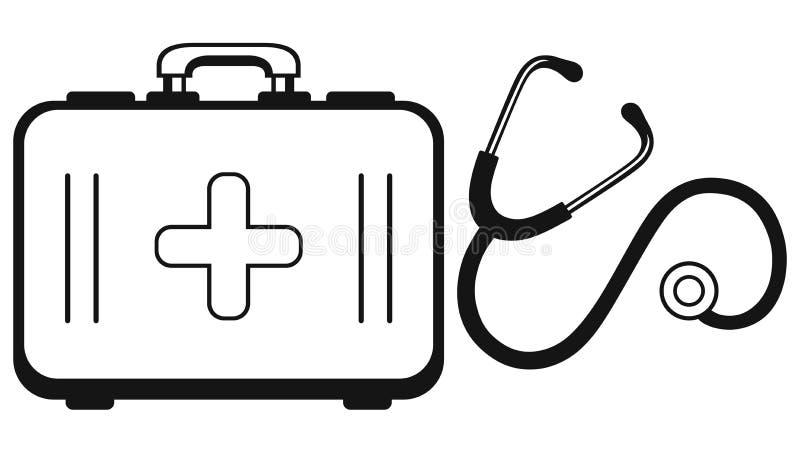 Estetoscópio e caixa de medicina ilustração royalty free