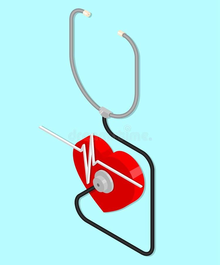 Estetoscópio e coração ilustração do vetor