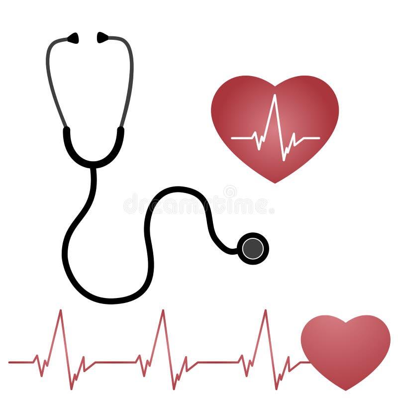 Estetoscópio e coração, ilustração royalty free