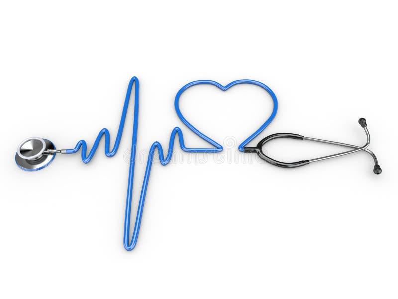 Estetoscópio e uma silhueta do coração e do ECG ilustração do vetor