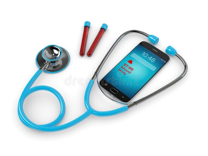 Estetoscopio azul y teléfono móvil con alarma del análisis de sangre stock de ilustración