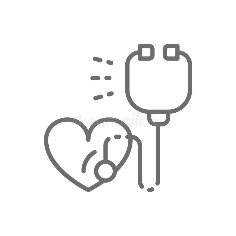 Estetoscopio con el corazón, latido del corazón, línea icono de la atención sanitaria stock de ilustración