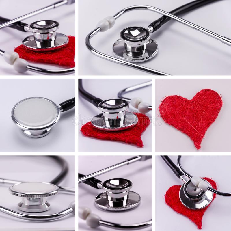 Estetoscopio con el corazón rojo - collage de la atención sanitaria fotografía de archivo libre de regalías