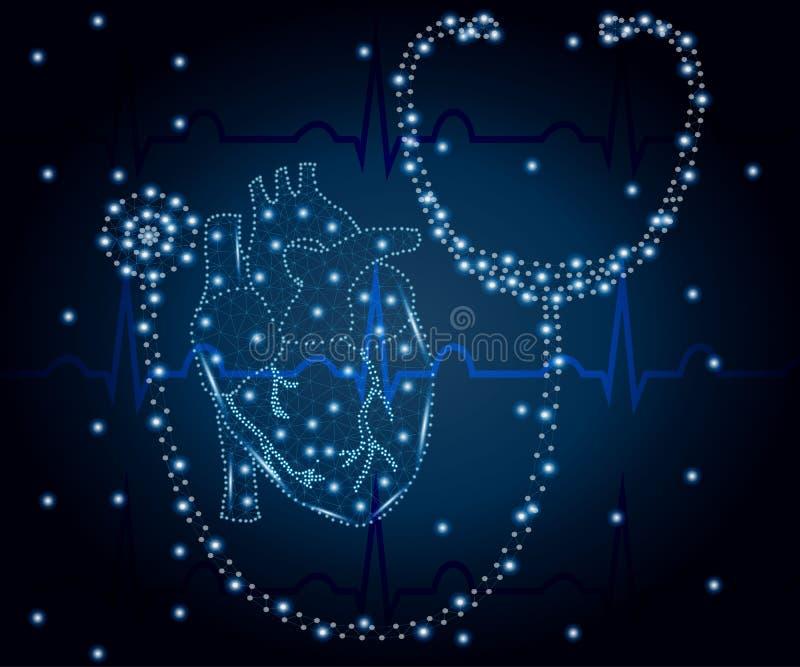 Estetoscopio, corazón, polígono, ECG azul 2 ilustración del vector