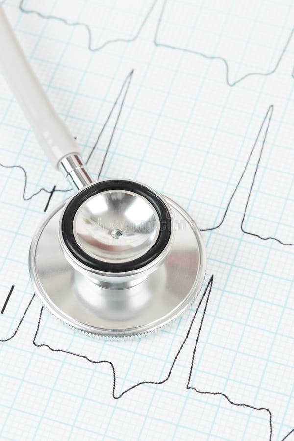 Estetoscopio en cardiograma imagen de archivo libre de regalías