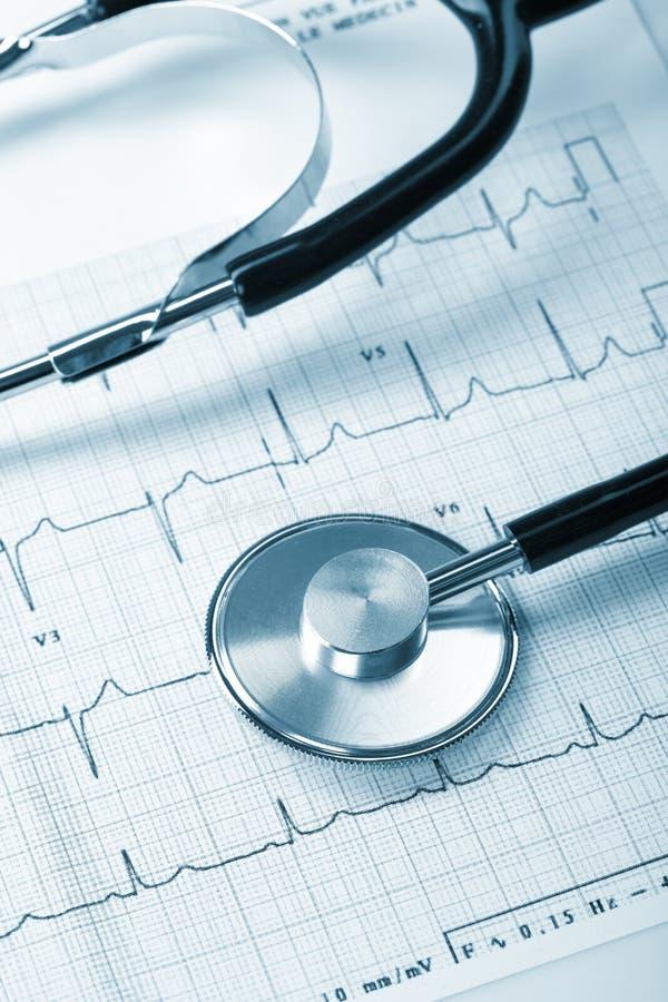 Estetoscopio en el cardiograma imágenes de archivo libres de regalías