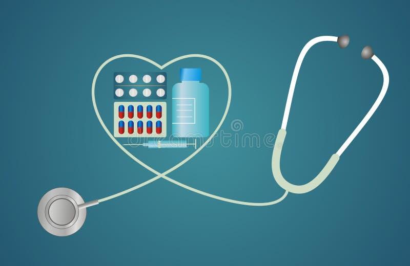 Estetoscopio en la forma de un corazón con las píldoras stock de ilustración