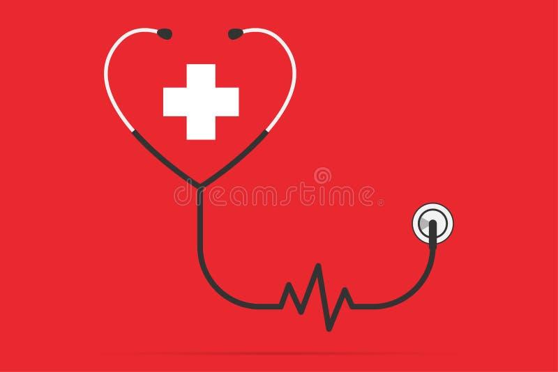 Estetoscopio en la forma de un corazón y de un pulso con el símbolo más, concepto de la salud libre illustration