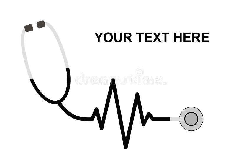 Estetoscopio en la forma de un golpe de corazón en un EKG Equipamiento médico, plantilla de la medicina Un estetoscopio con un go stock de ilustración