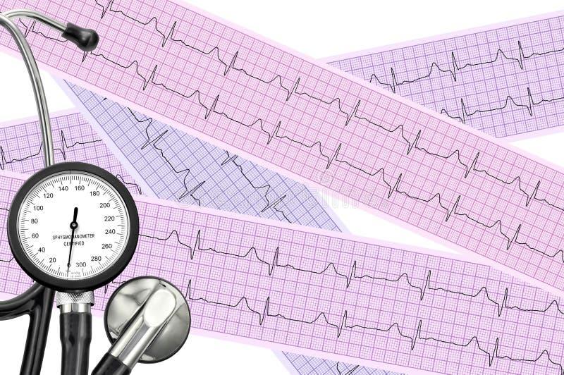 Estetoscopio en la hoja del cardiograma del paciente de la cardiología fotos de archivo
