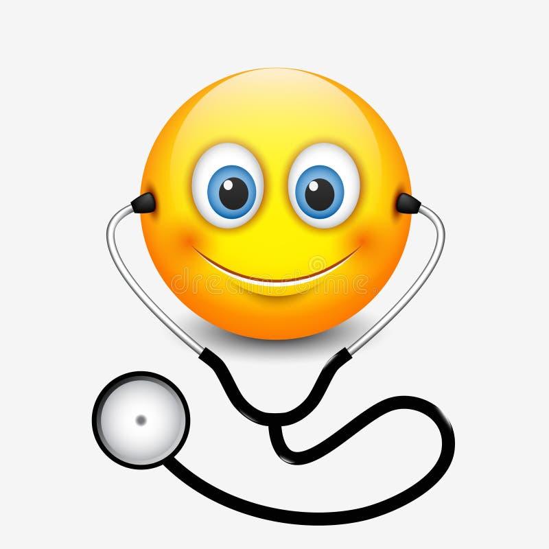 Estetoscopio que lleva sonriente lindo del emoticon del doctor, emoji, smiley - vector el ejemplo stock de ilustración