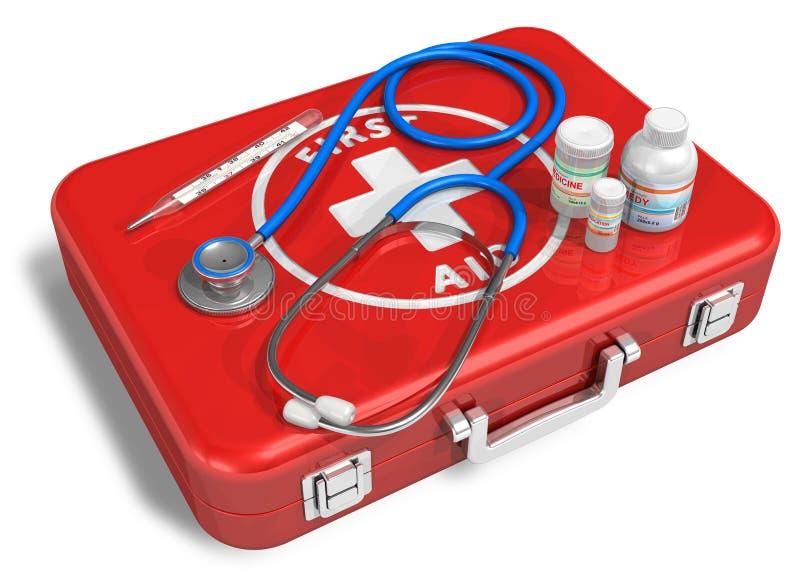 Estetoscopio, termómetro y drogas en el rojo primer ai stock de ilustración