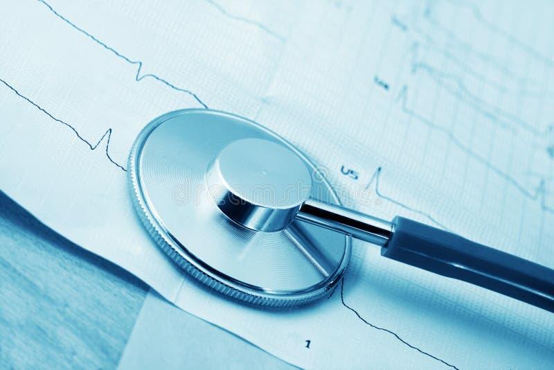 Estetoscopio y cardiograma imágenes de archivo libres de regalías